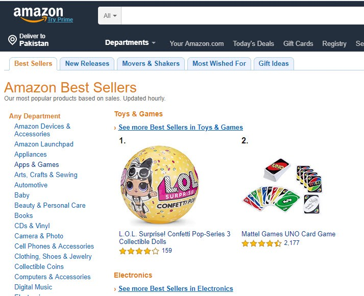 Amazon search display