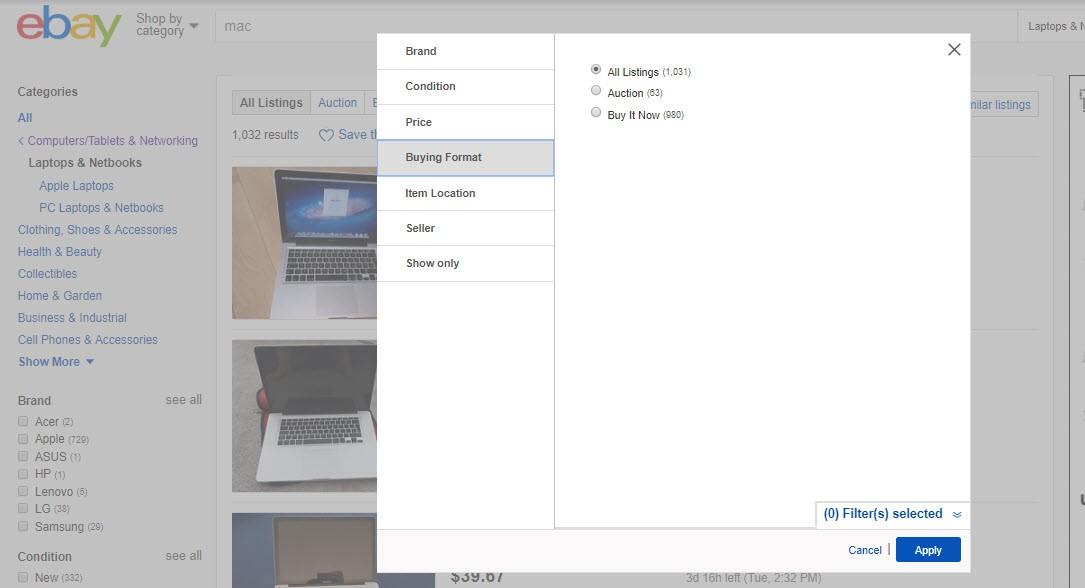 ebay dialog box
