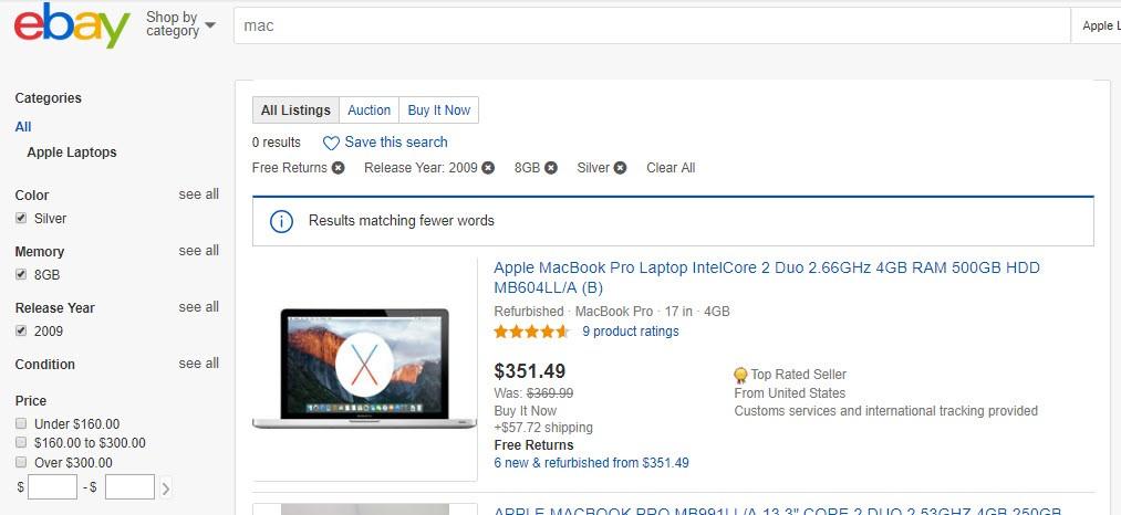 eBay no result found