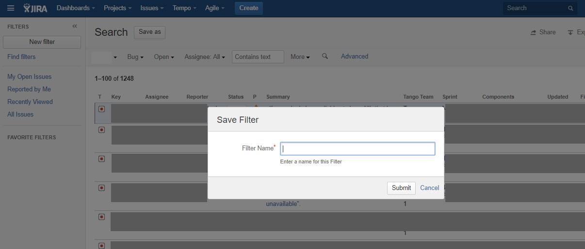 Jira Saving a filter