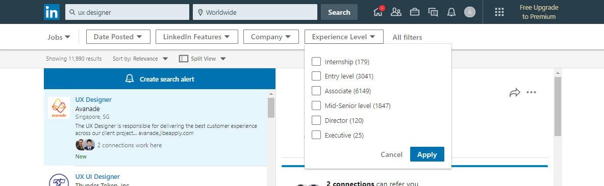 Linkedin executing search