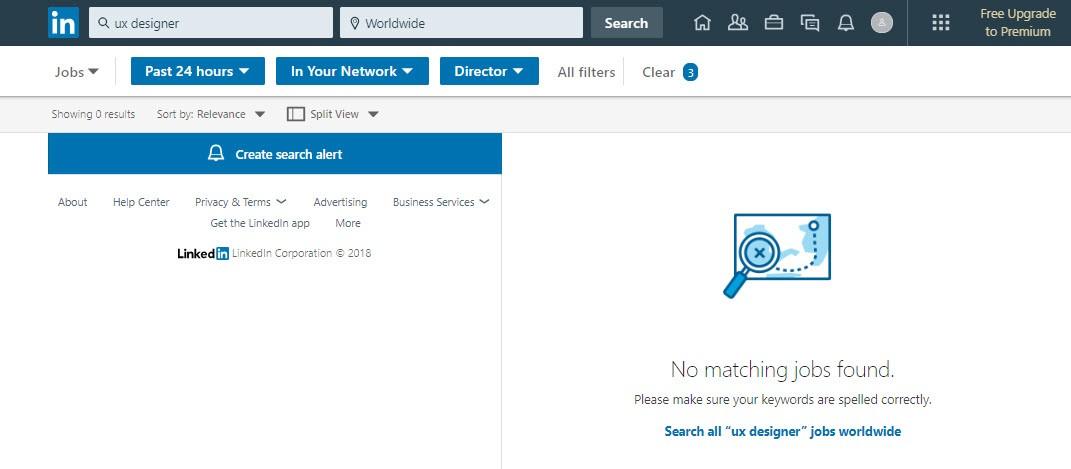 Linkedin no matching results