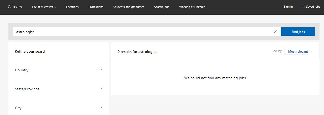Microsoft Careers no matching results