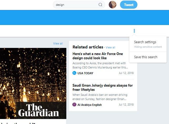 twitter drop-down menu