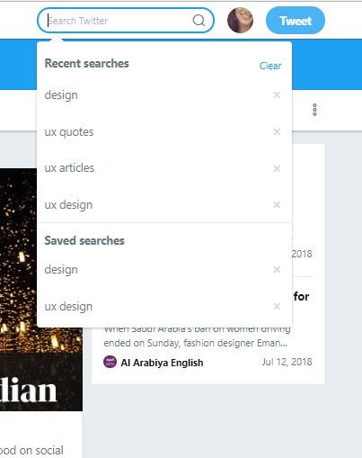 twitter search menu